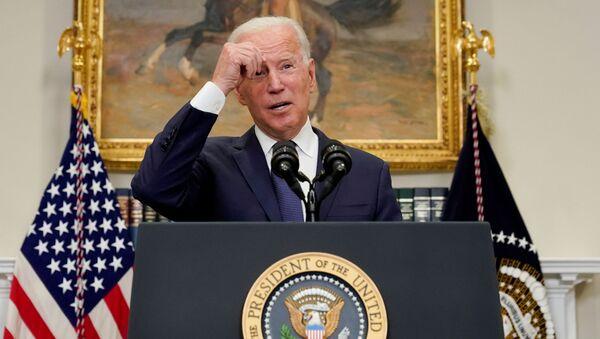U.S. President Joe Biden speaks about Hurricane Henri and the evacuation of Afghanistan in the Roosevelt Room of the White House in Washington, D.C., U.S. August 22, 2021. - Sputnik International