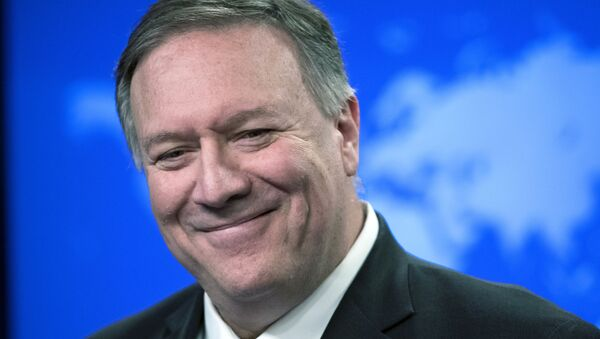 In this Nov. 26, 2019  file photo, then Secretary of State Mike Pompeo smiles as he speaks with reporters at the State Department in Washington. - Sputnik International