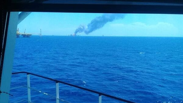 A photo of the fire on the oil platform in the Gulf of Mexico on August 23, 2021. - Sputnik International