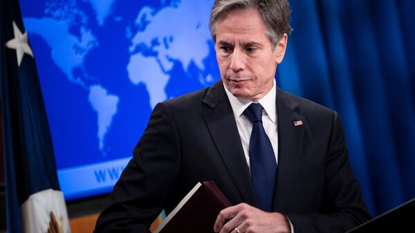 U.S. Secretary of State Antony Blinken leaves after speaking about refugee programs for Afghans who aided the U.S. during a briefing at the State Department in Washington, DC, U.S. August 2, 2021 - Sputnik International