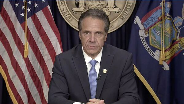 New York Governor Andrew Cuomo announces he will resign in this screen grab taken from a video released by the Office of the NY Governor, in New York, U.S. - Sputnik International