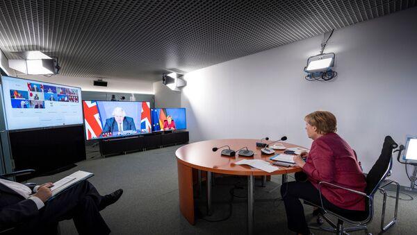 German Chancellor Angela Merkel attends G7 meeting on Afghanistan in Berlin, Germany, August 24, 2021 - Sputnik International