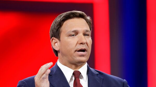 Florida Gov. Ron DeSantis speaks during the welcome segment of the Conservative Political Action Conference (CPAC) in Orlando, Florida, U.S. February 26, 2021 - Sputnik International