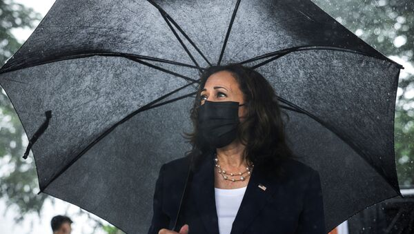 US Vice President Kamala Harris looks on as she lays flowers at the Senator John McCain memorial site, where his Navy aircraft was shot down by the North Vietnamese, on the three-year anniversary of his death, in Hanoi, Vietnam, August, 25, 2021. - Sputnik International