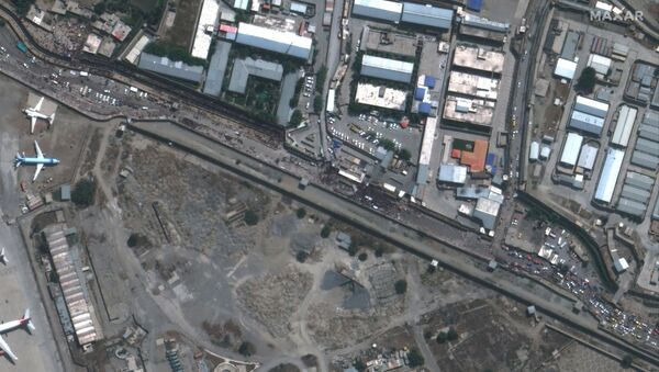 An overview of the Abbey Gate at Hamid Karzai International Airport, in Kabul, Afghanistan August 23, 2021, in this satellite image obtained by Reuters on August 26, 2021. - Sputnik International