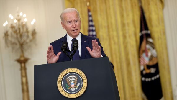 U.S. President Joe Biden delivers remarks about Afghanistan, from the East Room of the White House in Washington, U.S. August 26, 2021 - Sputnik International