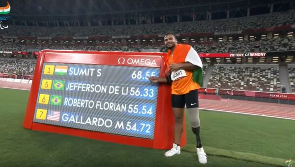 Sumit Antil is the Champion, Gold Medallist & World Record Holder - Tokyo 2020 Paralympics Games - Sputnik International