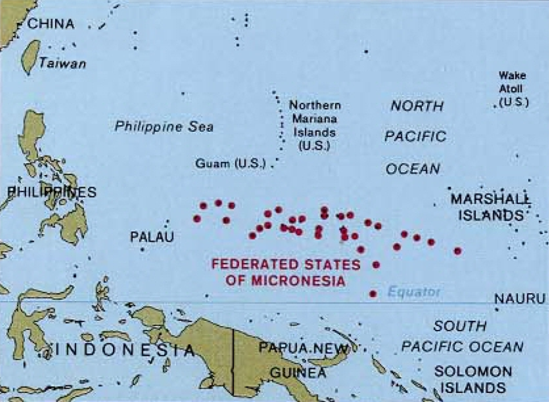 A map of the western Pacific, highlighting the Federated States of Micronesia - Sputnik International, 1920, 07.09.2021