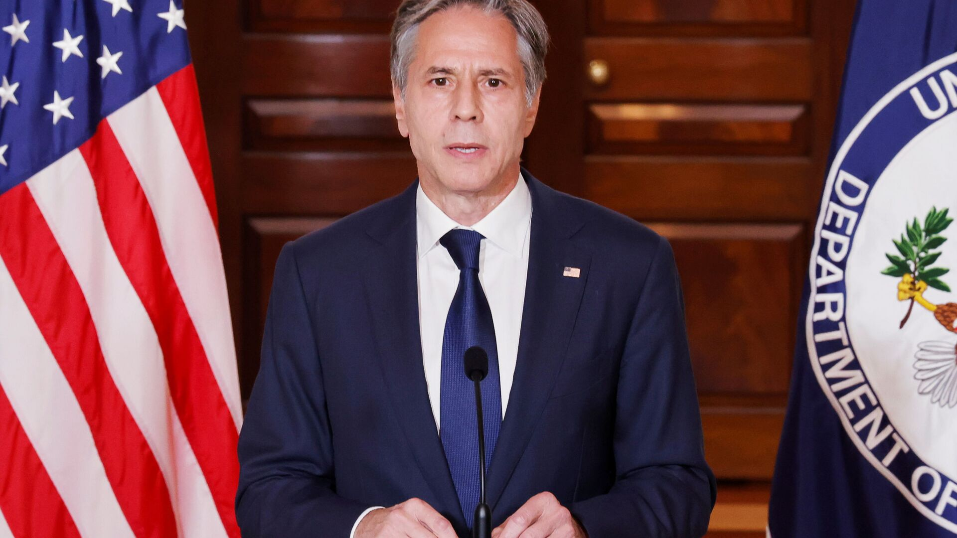 U.S. Secretary of State Antony Blinken delivers remarks following talks on the situation in Afghanistan, at the State Department in Washington, U.S., August 30, 2021 - Sputnik International, 1920, 16.09.2021