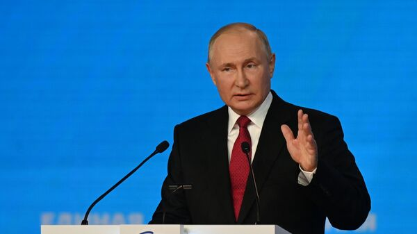 Russian President Vladimir Putin delivers a speech at a congress of the ruling United Russia party in Moscow, Russia August 24, 2021 - Sputnik International