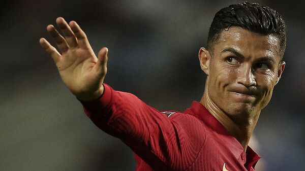 Portugal's forward Cristiano Ronaldo reacts during the FIFA World Cup Qatar 2022 European qualifying round group A football match between Portugal and Republic of Ireland at the Algarve stadium in Loule, near Faro, southern Portugal, on September 1, 2021 - Sputnik International