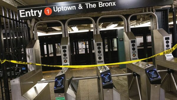 Tape warns commuters not to enter a closed subway station at 28th street, which was heavily flooded when the remnants of Tropical Storm Ida brought drenching rain and the threat of flash floods to parts of the northern mid-Atlantic, in New York City, U.S., September 2, 2021. - Sputnik International