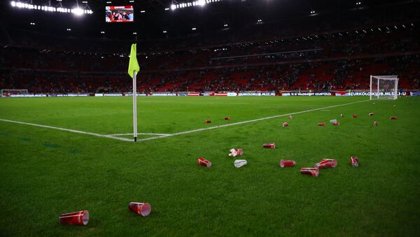 UEFA Qualifiers - Group I - Hungary v England - Puskas Arena, Budapest, Hungary - 2 September 2021 General view of plastic cups seen on the pitch after the match - Sputnik International