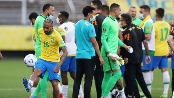Brazil's Neymar as play is interrupted after Brazilian health officials objected to the participation of three Argentine players they say broke quarantine rules  - Sputnik International