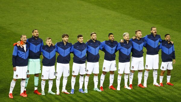 Soccer Football - World Cup - UEFA Qualifiers - Group C - Switzerland v Italy - St. Jakob-Park, Basel, Switzerland - September 5, 2021 Italy players line up for national anthems before the match - Sputnik International