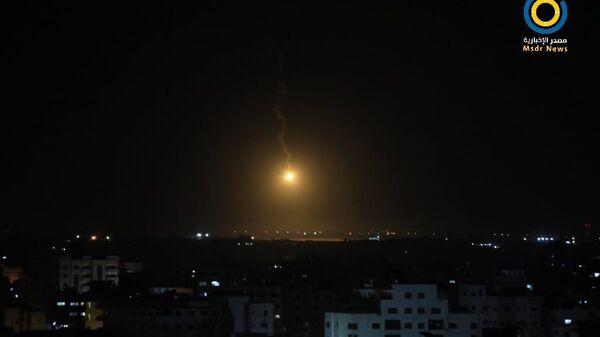 A photo of an alleged IDF lighting flare in the sky over Gaza City on September 7, 2021 - Sputnik International