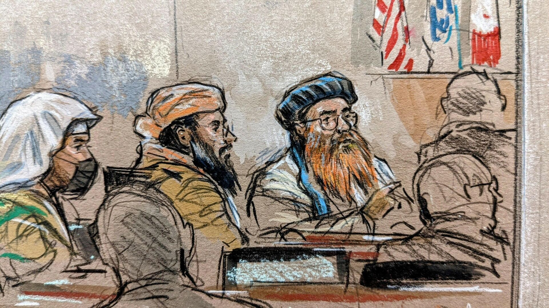 This courtroom sketch screened by US Military officials on September 7, 2021 shows accused September 11, 2001 mastermind Khalid Sheikh Mohammed (R) along with co-defendants Ramzi bin al-Shibh (L) and Walid bin Attash (C) appearing for a pretrial hearing at the military commission's court at the US naval base in Guantanamo, Cuba, on September 7, 2021.  - Sputnik International, 1920, 13.09.2021