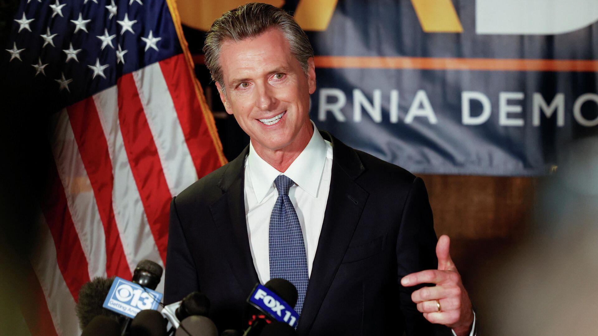 California Governor Gavin Newsom speaks after the polls close on the recall election, at the California Democratic Party headquarters in Sacramento, California, U.S., September 14, 2021 - Sputnik International, 1920, 15.09.2021