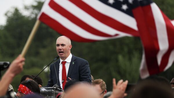 Matt Braynard, Executive Director of Look Ahead America, speaks during a rally in support of defendants being prosecuted in the January 6 attack on the U.S. Capitol, in Washington, D.C., U.S., September 18, 2021. REUTERS/Jonathan Ernst - Sputnik International