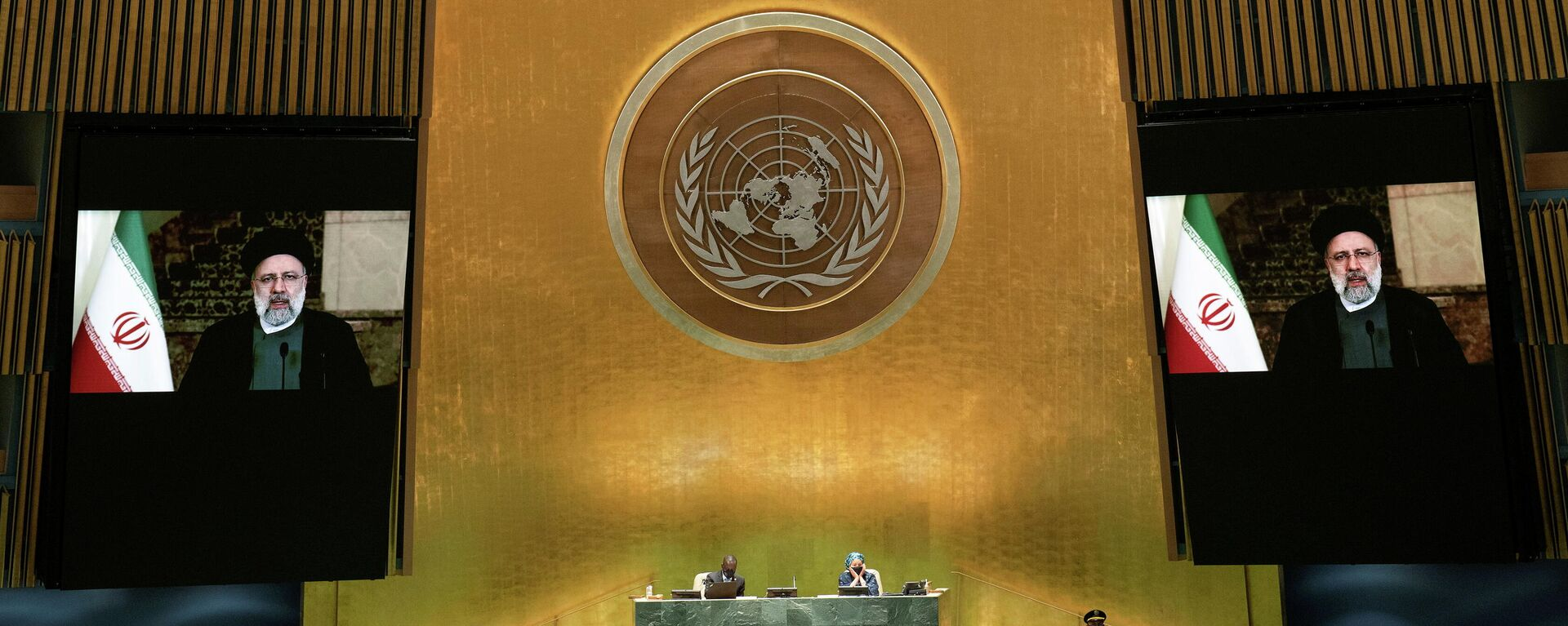Iran's President's Ebrahim Raisi remotely addresses the 76th Session of the U.N. General Assembly by pre-recorded video in New York City, U.S., September 21, 2021 - Sputnik International, 1920, 21.09.2021