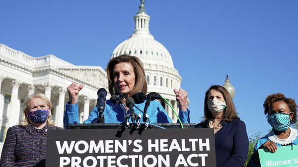 House Speaker Nancy Pelosi (D-CA) speaks during a news conference about the House vote on H.R. 3755, the Women's Health Protection Act legislation to establish a federally protected right to abortion access at the Capitol in Washington, U.S., September 24, 2021 - Sputnik International