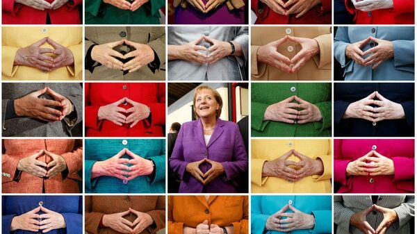 Комбинированный снимок знаменитого жеста рук Ангелы Меркель  - Sputnik International