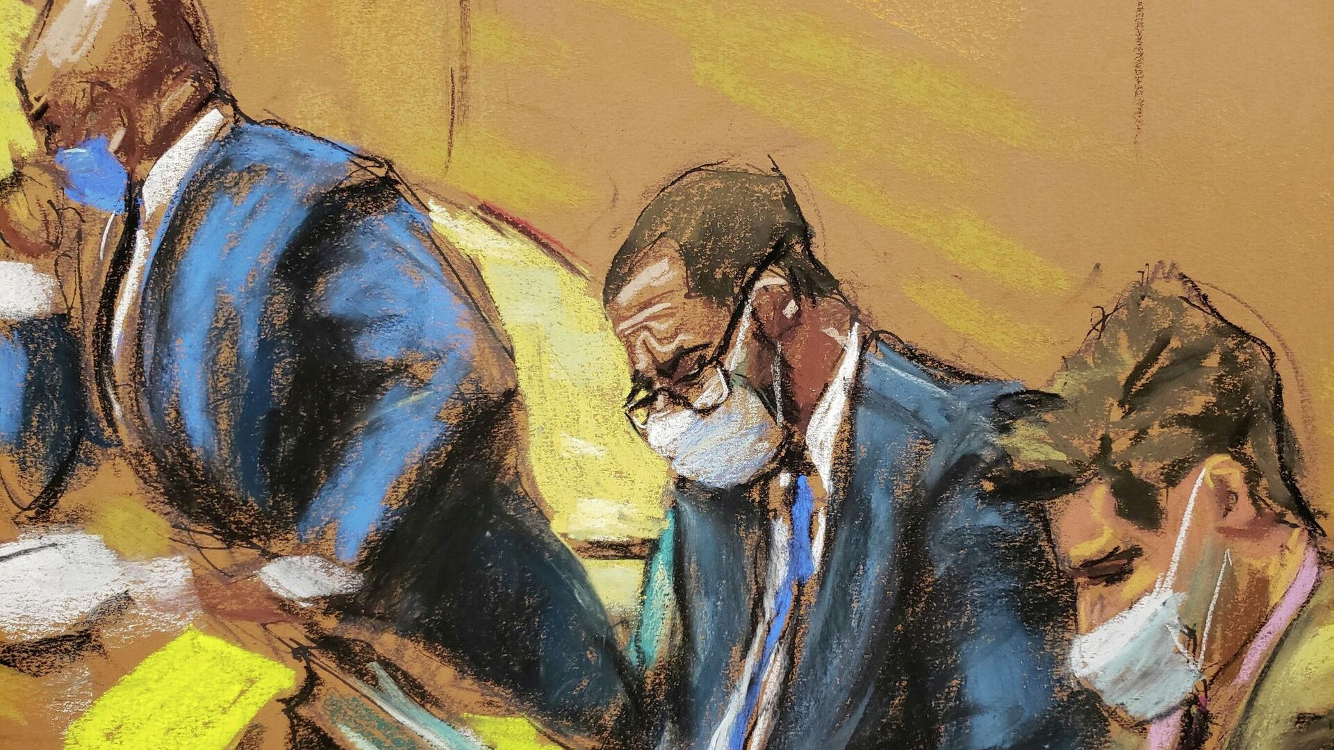 R. Kelly sits with his lawyers Calvin Scholar and Thomas Farinella as the jury deliberate in Kelly's sex abuse trial at Brooklyn's Federal District Court in a courtroom sketch in New York, U.S., September 27, 2021. - Sputnik International, 1920, 27.09.2021