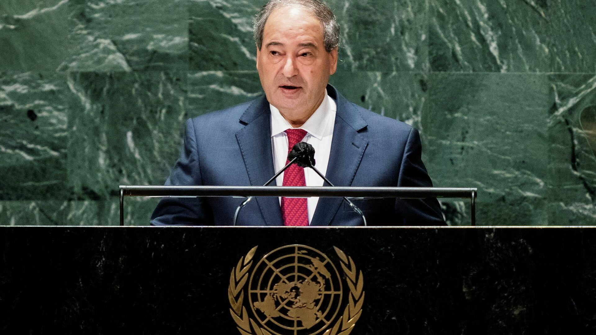 Syria's foreign minister Faisal Mekdad addresses the 76th Session of the United Nations General Assembly, at the U.N. headquarters in New York, U.S., September 27, 2021 - Sputnik International, 1920, 27.09.2021