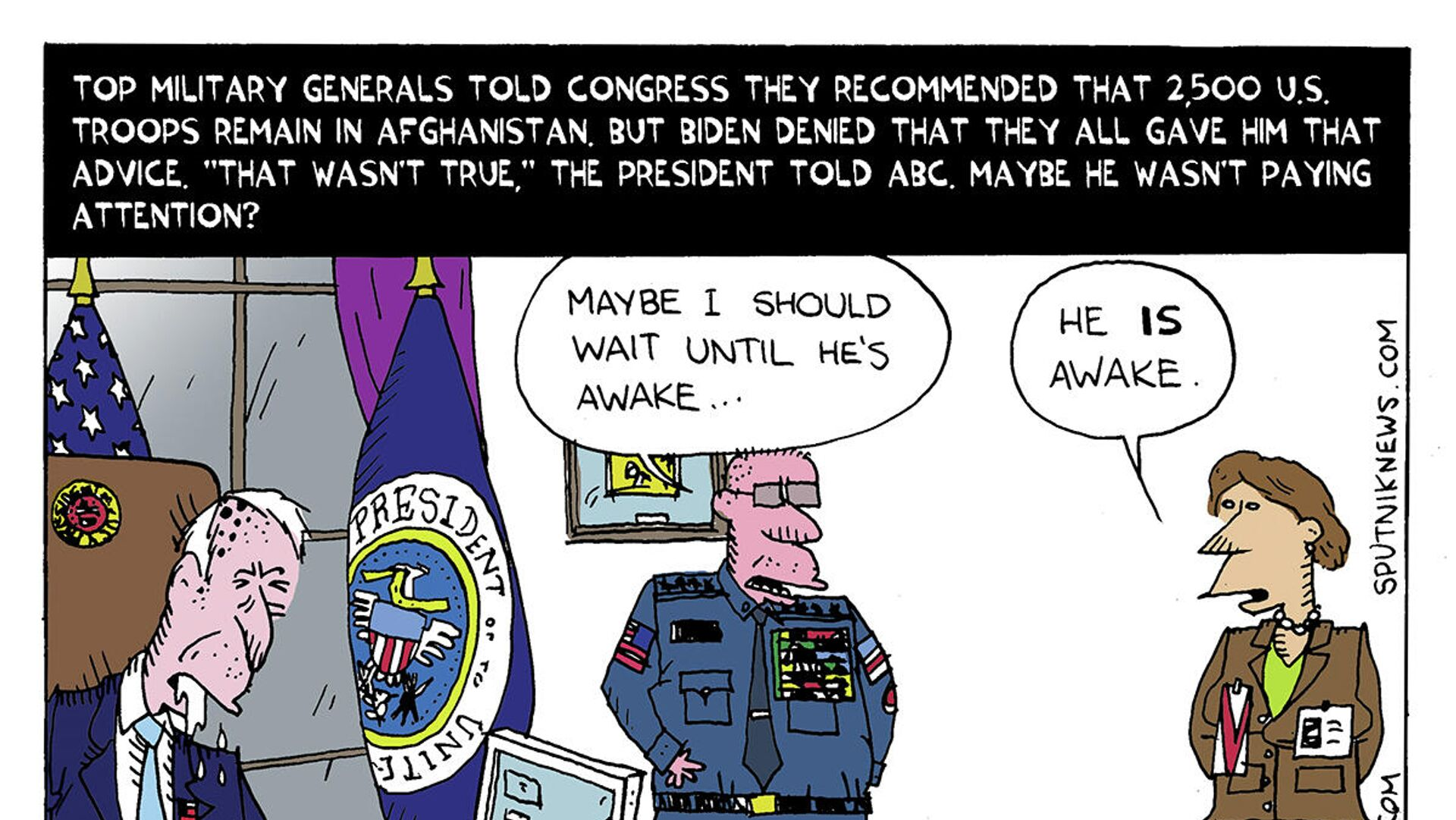 """Top military generals told Congress they recommended that 2,500 U.S. troops remain in Afghanistan. But Biden denied that they all gave him that advice. """"That wasn't true,"""" the president told ABC. Maybe he wasn't paying attention? - Sputnik International, 1920, 28.09.2021"""