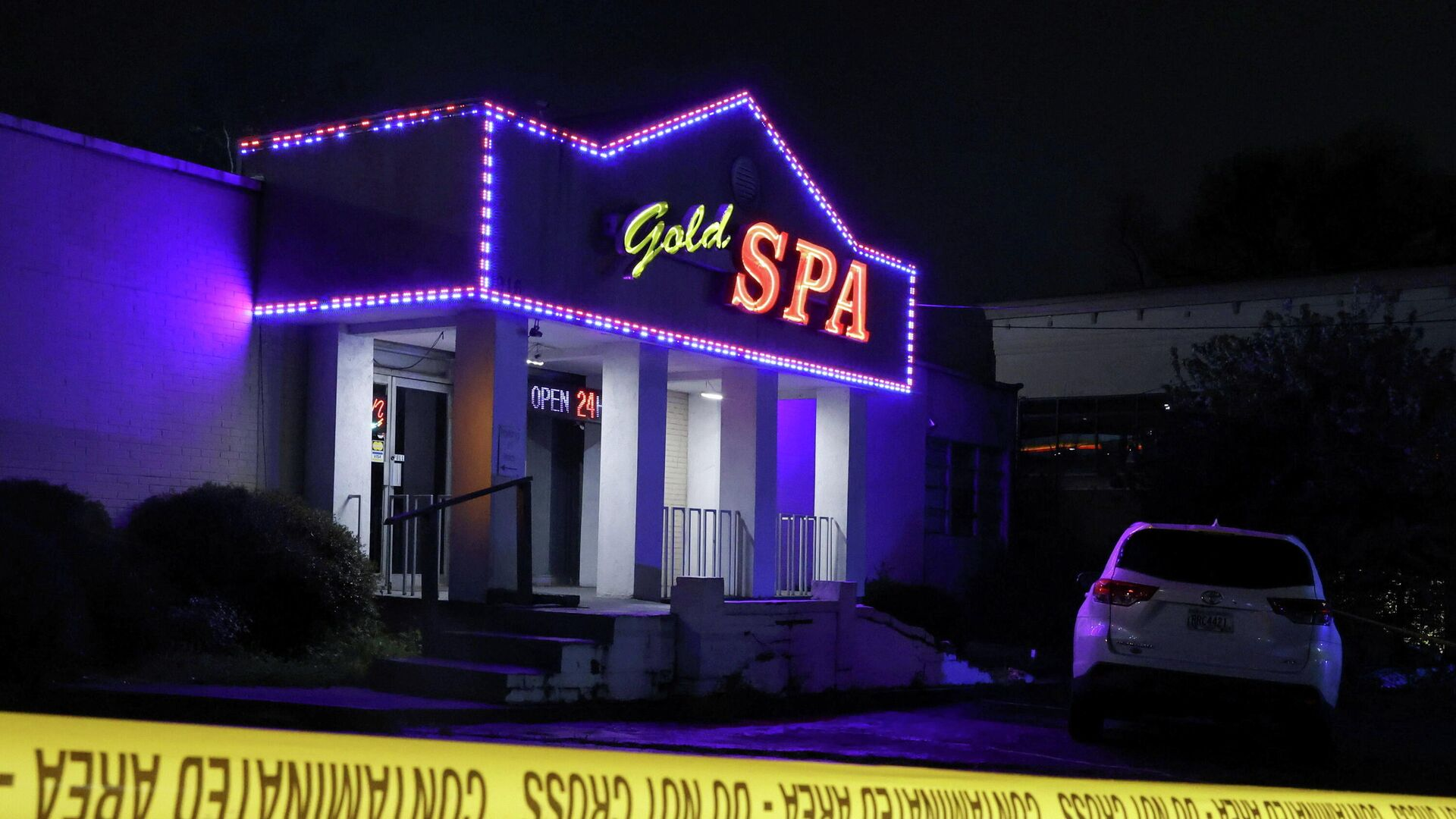 Crime scene tape surrounds Gold Spa after deadly shootings at a massage parlor and two day spas in the Atlanta area, in Atlanta, Georgia, U.S. March 16, 2021 - Sputnik International, 1920, 28.09.2021