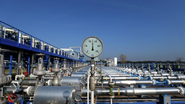 A pressure metre is pictured at the gas storage facility of Hungarian state-owned energy group MVM in Zsana November 3, 2014 - Sputnik International