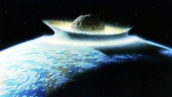 Artist's impression of asteroid hitting earth - Sputnik International