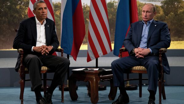 President Barack Obama meets with Russian President Vladimir Putin in Enniskillen, Northern Ireland, Monday, June 17, 2013. Obama and Putin discussed the ongoing conflict in Syria during their bilateral meeting. - Sputnik International