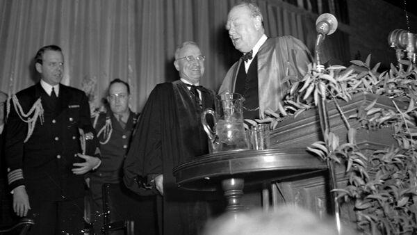 Winston Churchill's Iron Curtain speech, describing Soviet influence over post-World War II Europe, at Westminster College in Fulton, Mo., on March 5, 1946. - Sputnik International