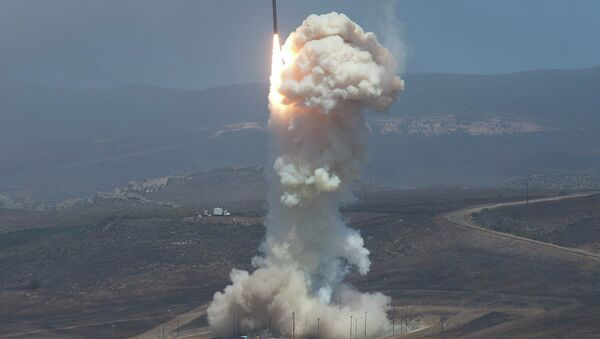 The Missile Defense Agency's test of the Ground-based Midcourse Defense (GMD). The Ground-Based Interceptor launches from Vandenberg Air Force Base, Calif. on June 22, 2014. - Sputnik International