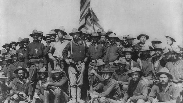 Col Theodore Roosevelt stands triumphant on San Juan Hill, Cuba after his Rough Riders captured this hill and its sister Kettle Hill during the Spanish American War. - Sputnik International