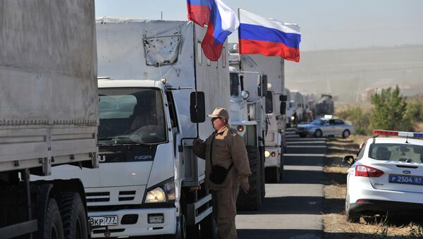 All the trucks from the Russian humanitarian convoy are now back in Rostov region. - Sputnik International