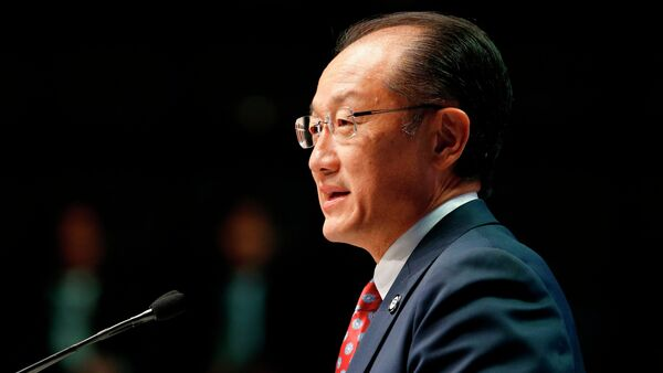 World Bank President Jim Yong Kim delivers remarks at the plenary session at the IMF-World Bank annual meetings at Constitution Hall in Washington October 10, 2014 - Sputnik International
