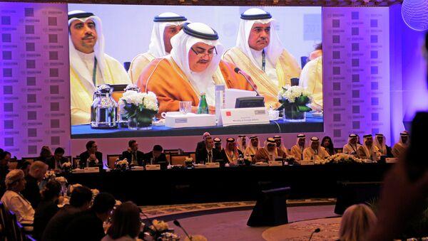 Bahraini Foreign Minister Sheik Khalid bin Ahmed Al Khalifa(С) addresses delegates during a conference: Combating the Financing of Terrorism, in Manama, Bahrain, Sunday, Nov. 9, 2014. - Sputnik International