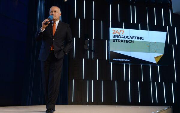 Rossiya Segodnya Director General Dmitry Kiselev at the presentation of the major international news brand, Sputnik. - Sputnik International
