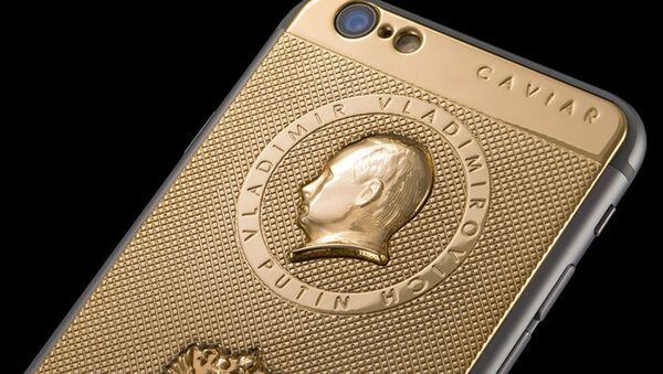An image of the gold-plated i-Phone 6 in question. - Sputnik International