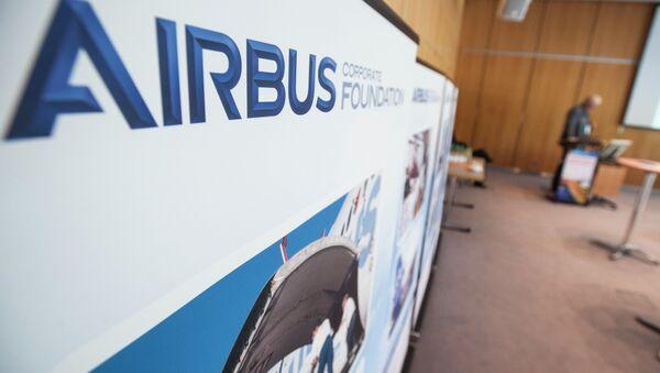 The Airbus Foundation logo at the side event - Sputnik International