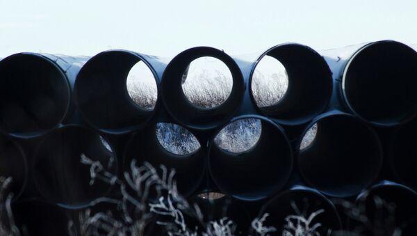 A depot used to store pipes for Transcanada Corp's planned Keystone XL oil pipeline is seen in Gascoyne, North Dakota November 14, 2014 - Sputnik International