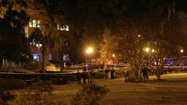 Police investigate a shooting scene at Strozier Library on Florida State campus on Thursday, November 20, 2014, in Tallahassee, Fla - Sputnik International