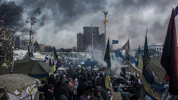 The camp of pro-European integration protesters on Maidan Nezalezhnosti in Kiev - Sputnik International