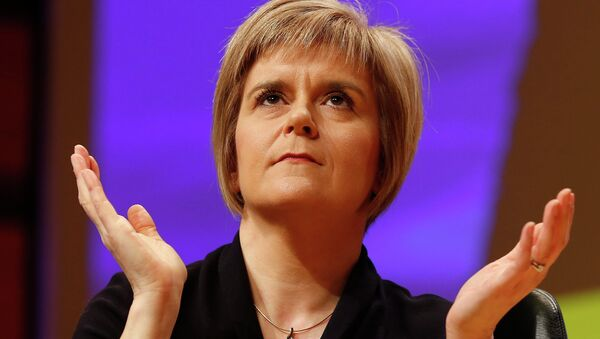 Nicola Sturgeon reacts as she is formally announced as the new Scottish National Party (SNP) leader at the party conference in Perth November 14, 2014 - Sputnik International