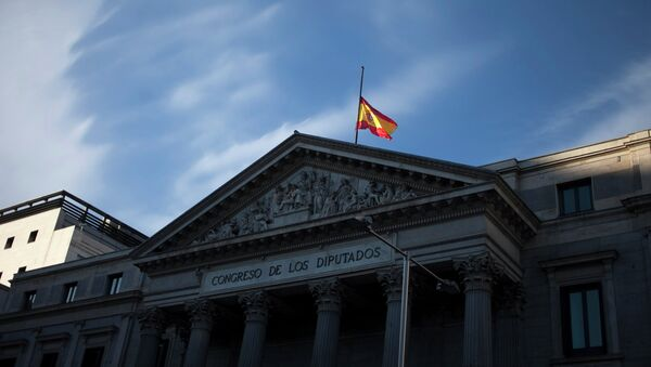 A Spanish flag flies at half staff in memory of Spain's former Prime Minister Adolfo Suarez at the Parliament in Madrid, Spain - Sputnik International