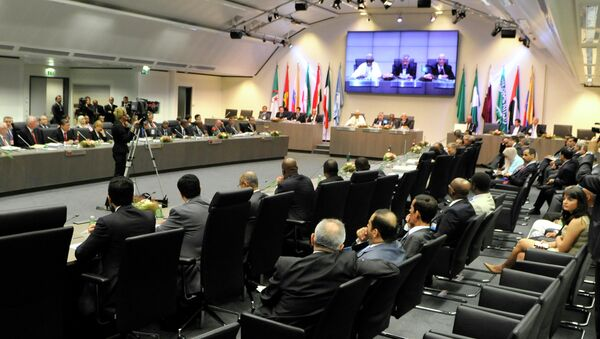 OPEC ministers and delegates gather for a meeting of the Organization of the Petroleum Exporting Countries (OPEC) at its headquarters in Vienna, Austria. - Sputnik International