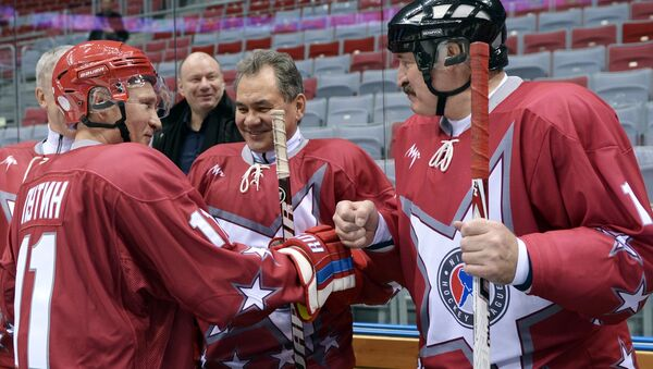 President Vladimir Putin, Defense Minister Sergei Shoygu and the incoming and outgoing heads of the KHL played a friendly match of hockey Friday night in Sochi. Photo: Putin, Number 11, left, together with Sergei Shoigu during a match from earlier in the year. - Sputnik International