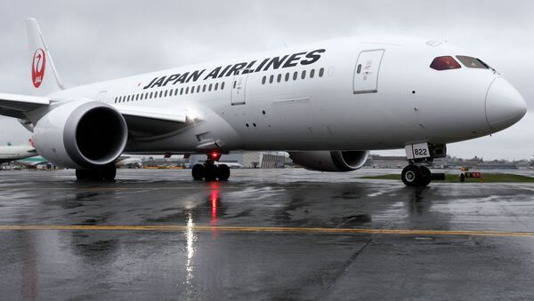 A Japan Airlines Boeing 787 taxis to the runway at Logan International Airport in Boston - Sputnik International